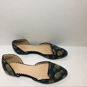 Restricted Pineapple Print D'Orsay Ballet Flats